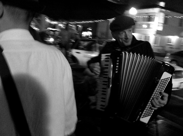 an accordion player in Little Italy