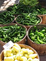 Chiles, waiting their turn (Hildretha of Nidhil) Tags: chile usa newmexico santafe green farmers market