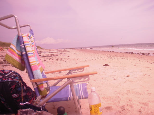 beach through my sunglasses