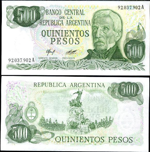 500 Pesos Argentína 1977-82, Pick 303