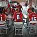 Mike Glennon and the other quarterbacks sign autographs for the fans at Meet the Pack Day.