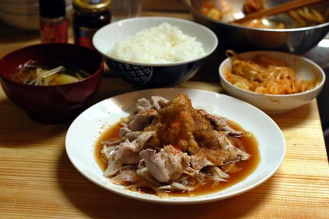 豚の冷しゃぶサラダ、柚子胡椒いり酢醤油で! #gohan