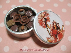 Dollhouse Miniature Fairy Tin of Chocolates