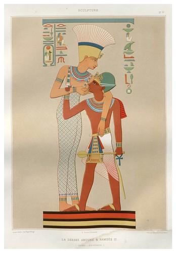 002-La diosa Anouke y Ramses II- Talmis dinastia XIX-Histoire de l'art égyptien 1878- Achille Constant Théodore Émile