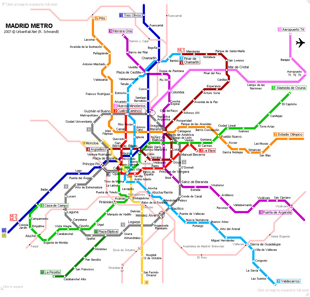 Mapa do metrô de Madrid