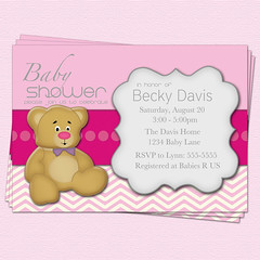 Girl Bear Baby Shower Invitation (CupcakeDream!) Tags: bear party baby girl shower teddy celebration invitations babyshowergirlinvitation
