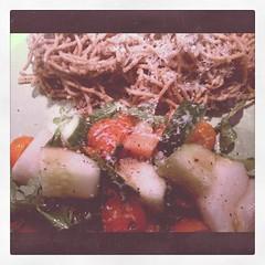 Eggplant pesto pasta, melon salad