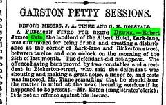 Lark Lane - Robert James Cain drunk. (Liverpool Mercury, 8 Sept 1876). (philipgmayer) Tags: liverpool pub 1000 1876 cain toxteth larklane alberthotel liverpoolmercury