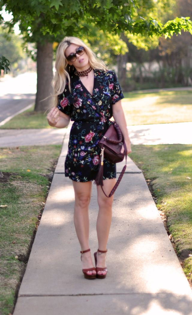 vintage floral romper and studded neck cuff + YSL shoes and gucci sunglasses