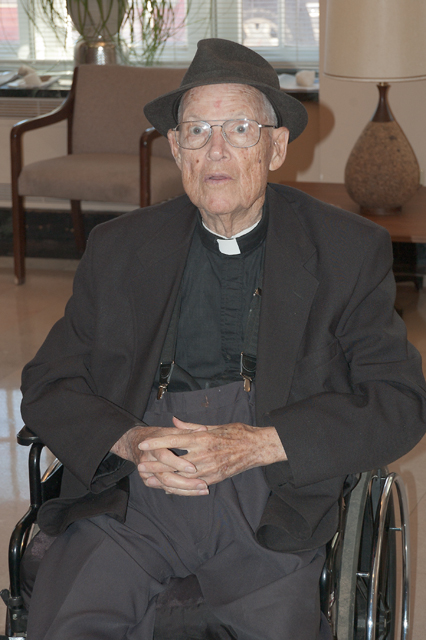 Father William Barnaby Faherty S.J., at Jesuit Hall, at Saint Louis University, in Saint Louis, Missouri, USA