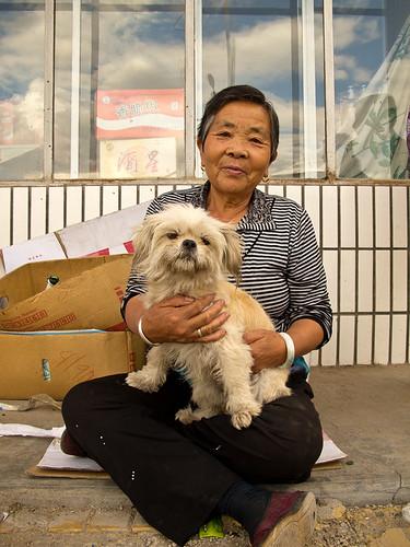 Small village lady + dog