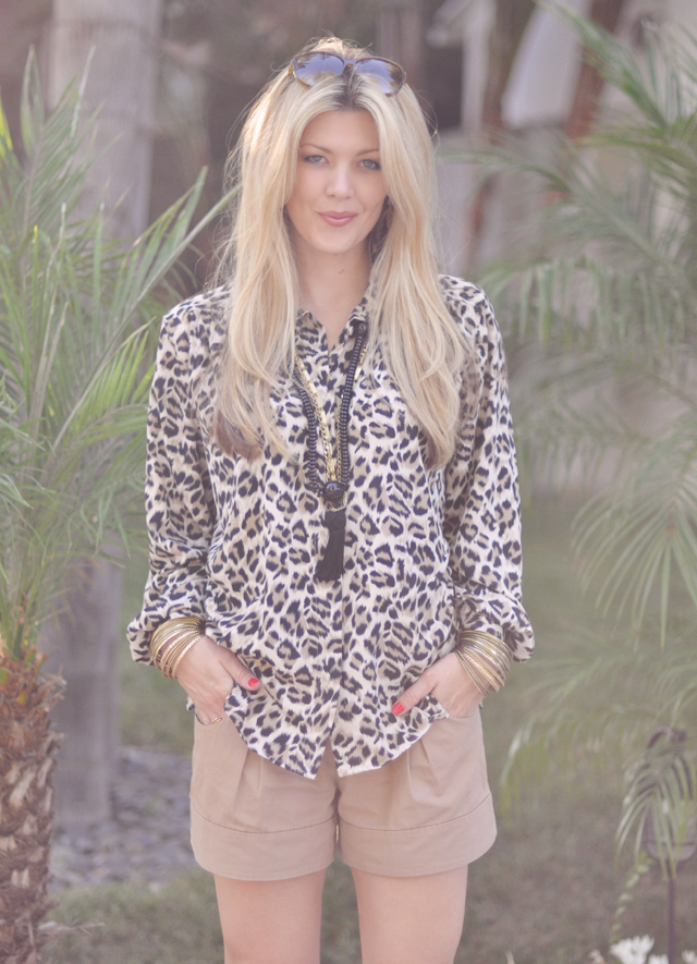 vintage leopard blouse and taupe shorts with tassel necklace and bangles+straight hair