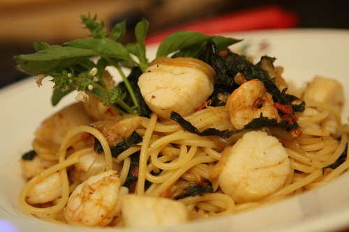 Spaghetti with Fennel, Tomato, Spinach, Scallops, Shrimp, and Lime Basil