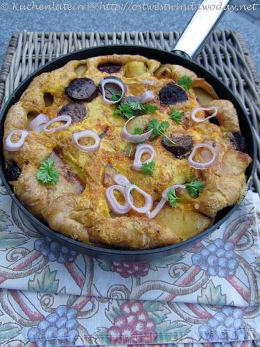 Kartoffel & Chorizo Omelett mit einer Art Petersiliensalat,