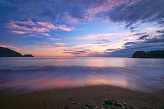 sunset on Aug.26  (-TommyTsutsui- [nextBlessing]) Tags: longexposure blue light sunset sea sky seascape beach nature japan clouds landscape nikon waves purple dusk magic tide scenic shore     hdr izu sandybeach   ndfilter  nishiizu sigma1020    onsalegettyimages
