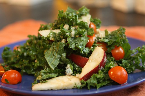 Red Clap Pear Salad with Kale, Danish Blue Cheese and Sun Gold Cherry Tomato