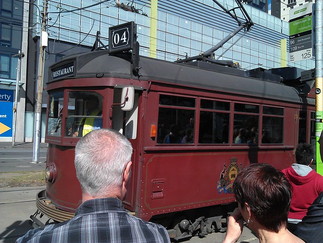 Restaurant tram arrives for boarding