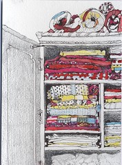 Linen Press in the bedroom (skyeshell) Tags: sketch bedroom quilts blankets textiles bedding linenpress mixedmediadrawing drawingincolour drawingfromobservation drawingonwatercolourcard