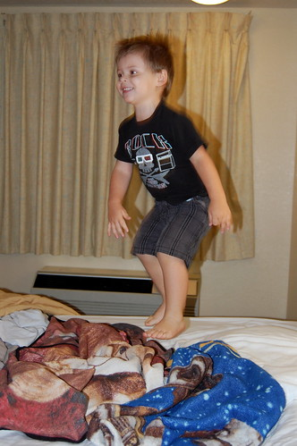 One little monkey jumping on the bed.