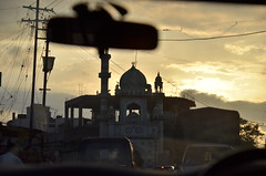 On the road in India (Roy Cheung Photography) Tags: road sunset india car mirror nikon traffic dusk indian mosque d7k d7000