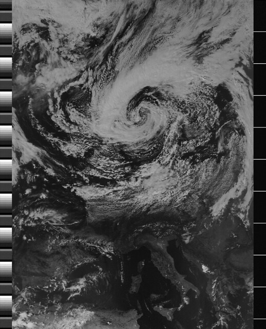 NOAA-18 APT image received with Gqrx and Funcube Dongle