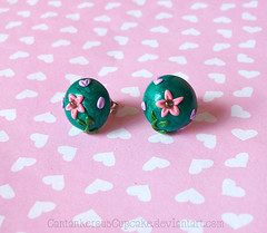 First Embroidery Earrings (Cantankerous Cupcake) Tags: flower handmade embroidery jewelry polymerclay earrings