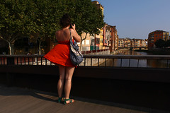 A view (Che-burashka) Tags: travel red spain europe photographer dress view wind tourist girona canonef28mmf18usm