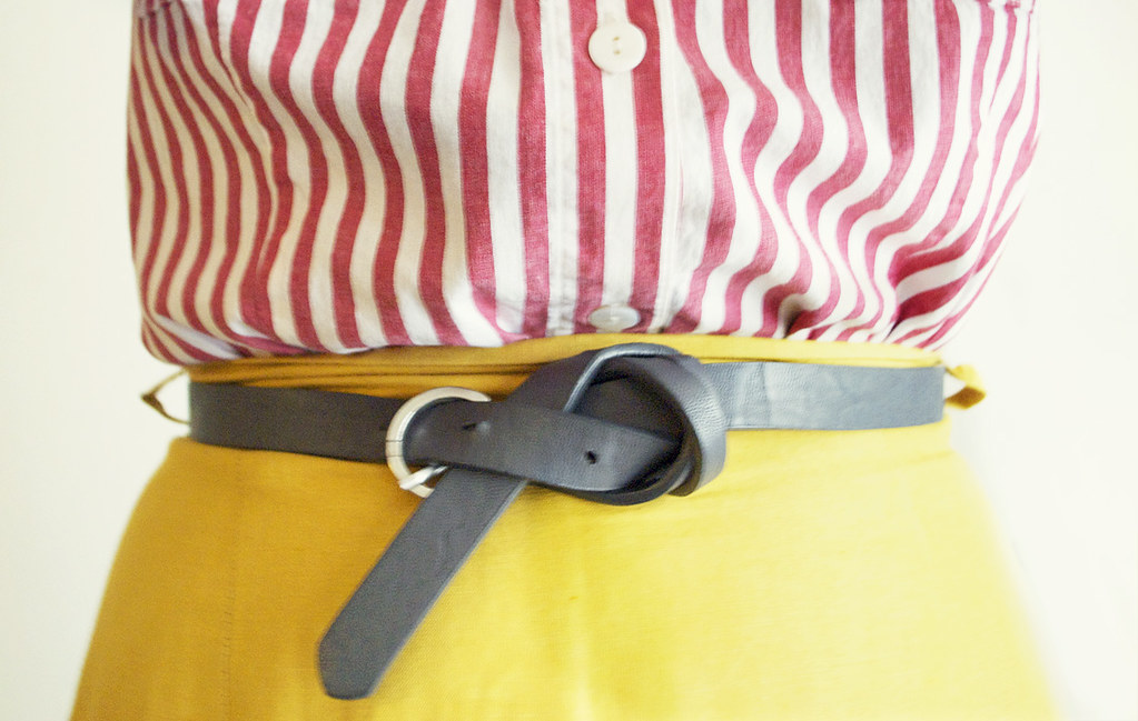 Striped Blouse - Mustard Yellow Pencil Skirt - Knotted Gray Leather Belt
