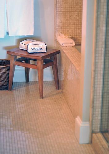 bathroom   at the oceana hotel in santa monica+ vintage chanel cosmetic bags