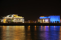 The Hungarian National Theatre and the Palace of Arts at night (Romeodesign) Tags: blue yellow architecture night reflections river lights theater hungary purple theatre budapest arts palace millennium duna danube nationaltheatre nemzeti 550d palaceofarts palotja nemzetisznhz mpa mvszetek millenniumcitycenter gettyhungary1
