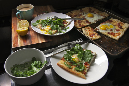 Bacon Egg & Arugula Pizza