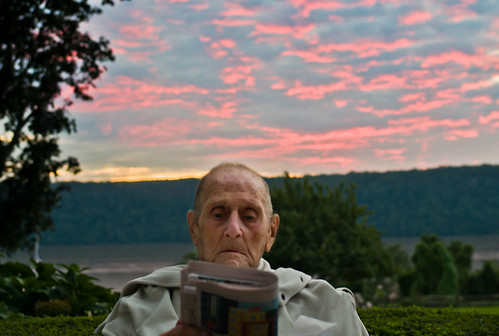 dad reading at sunset by Susan NYC