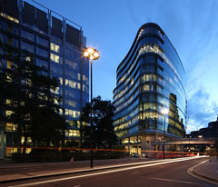 One London Wall (david.bank (www.david-bank.com)) Tags: city uk england london glass architecture modern canon twilight dusk steel shift lighttrails bluehour organic curved tilt 67 offices tse nla 17mm fosterandpartners onelondonwall