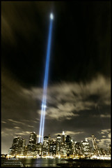 Distant: That Night (9/11) (Linus Gelber) Tags: nyc newyork skyline clouds lights memorial manhattan 911 eastriver tribute beams tributeinlight september11th sigma1020mm