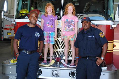 The girls with members of Fire Station 37 crew
