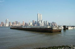 The way it was before (Bosc d'Anjou) Tags: waterfront 911 twintowers hudsonriver barge newportnj