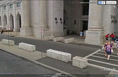 barriers in front of DC's Union Station (via Google Earth)