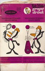 Tennessee Tuxedo Grape Drink Side 1 (grandma groovy) Tags: vintage ball advertising purple drink juice cartoon tennis cannon packaging groovy grape concentrate generalmills tennesseetuxedo purepak kavee