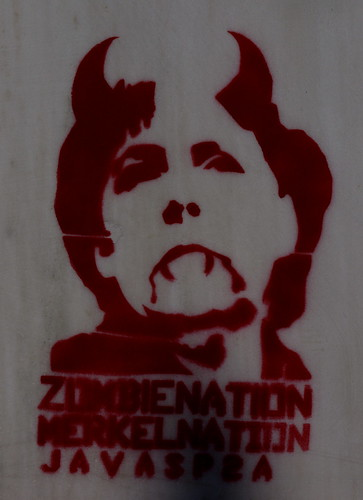 Zombie nation, Merkel nation . Stencil on the wall of a building in Thessaloniki, Greece by Teacher Dude's BBQ