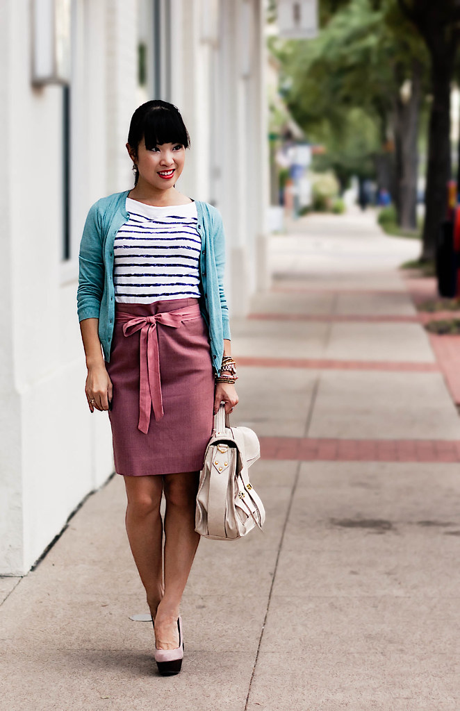 banana republic mint cardigan, loft breton striped shirt, j. crew no. 2 double serge pencil skirt mauve morning, pink sash, steve madden elevaate, handbag heaven vieta veronique buckle satchel, agaci tonal multi bead stretch, mac korean candy sheen supreme lipstick, mk5430, forever 21 faceted bead ring set