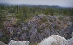 Alaska - Morning Mist (blmiers2) Tags: morning travel trees red mist mountain mountains green nature alaska clouds landscape rocks gray yukon finepix fujifilm klondike z30 2011 phoography blm18 blmiers2
