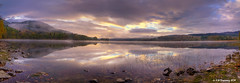 Loch Achray Panorama (Kit Downey) Tags: panorama mist water sunrise canon reflections landscape eos scotland october rocks angle wide scottish super panoramic tokina kit loch hdr lense downey achray 550d 1116mm