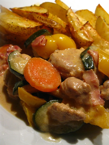 Creamy Pork and Vegetable stew with spicy roasted potatoes wedges http://singlishswenglish.blogspot.com/
