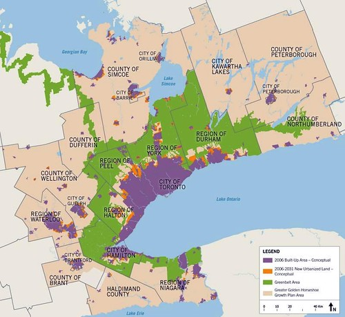 land use pattern in 2031 under Places to Grow plan (by: Ontario Ministry of Infrastructure)