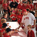 Crowd of NC State football fans wait their turn to get autographs from the quarterbacks.
