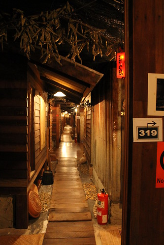 The hallway at Suk 11, designed to look like an old wooden walkway