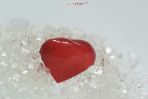 True Heart......An Aril  of pomegranate fruit placed on Sugar crystal