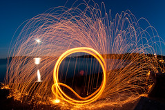 Steel Wool on beach (Northwest dad) Tags: light moon beach wool water painting cool nikon steel fisheye 8mm d300 samyang prooptic