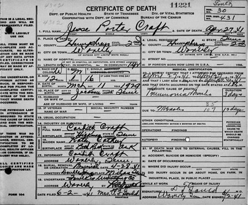 Jesse Porter Craft Death Certificate