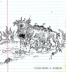 Swamp Monster (pickledpunk) Tags: monster ink drawing swamp scifi horror kidart creature bog lowbrow marcdamicis